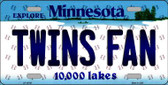 Twins Fan Minnesota Background Novelty Metal License Plate