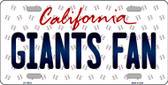 Giants Fan California Background Novelty Metal License Plate
