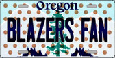 Blazers Fan Oregon Background Novelty Metal License Plate