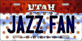 Jazz Fan Utah Background Novelty Metal License Plate