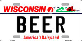 Beer Wisconsin Background Metal Novelty License Plate