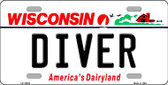 Diver Wisconsin Background Metal Novelty License Plate