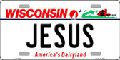 Jesus Wisconsin Background Metal Novelty License Plate