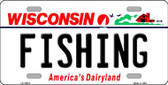 Fishing Wisconsin Background Metal Novelty License Plate
