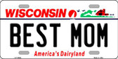 Best Mom Wisconsin Background Metal Novelty License Plate