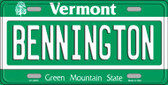Bennington Vermont Background Metal Novelty License Plate