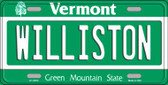 Williston Vermont Background Metal Novelty License Plate