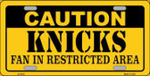 Caution Knicks Fan Metal Novelty License Plate LP-2612