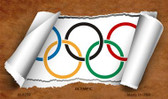 Olympic Flag Scroll Novelty Metal Magnet