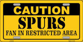 Caution Spurs Fan Metal Novelty License Plate LP-2619