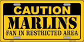 Caution Marlins Fan Metal Novelty License Plate LP-2634