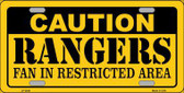 Caution Rangers Fan Metal Novelty License Plate LP-2648