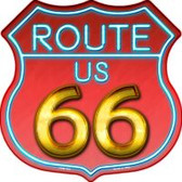 Route 66 Neon Metal Highway Shield Novelty Metal Magnet
