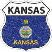 Kansas State Flag Highway Shield Metal Sign