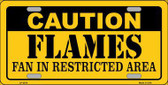 Caution Flames Metal Novelty License Plate LP-2670