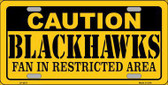 Caution Blackhawks Metal Novelty License Plate LP-2671