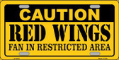 Caution Red Wings Metal Novelty License Plate LP-2675