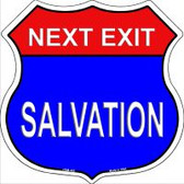 Next Exit Salvation Highway Shield Novelty Metal Magnet