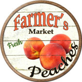 Farmers Market Peaches Novelty Metal Circular Sign
