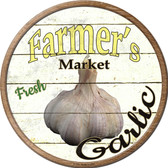 Farmers Market Garlic Novelty Metal Circular Sign