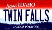 Twin Falls Idaho State Background Metal Novelty Magnet