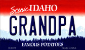 Grandpa Idaho State Background Metal Novelty Magnet