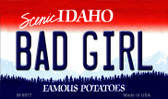 Bad Girl Idaho State Background Metal Novelty Magnet