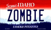 Zombie Idaho State Background Metal Novelty Magnet
