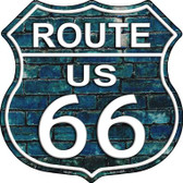 Route 66 Blue Brick Wall Metal Novelty Highway Shield