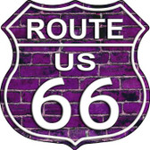 Route 66 Purple Brick Wall Metal Novelty Highway Shield