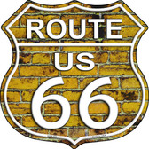 Route 66 Yellow Brick Wall Highway Shield Novelty Metal Magnet