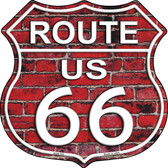 Route 66 Red Brick Wall Highway Shield Novelty Metal Magnet
