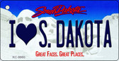I Love S. Dakota South Dakota Background Metal Novelty Key Chain