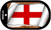 "England Country Flag Scroll Dog Tag Kit 2"" Metal Novelty"
