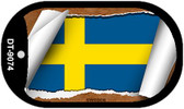 "Sweden Country Flag Scroll Dog Tag Kit 2"" Metal Novelty"