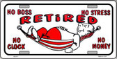 Retired With Hammock Metal Novelty License Plate