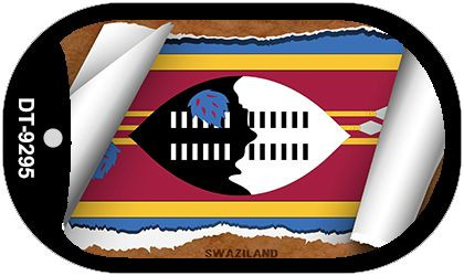 "Swaziland Country Flag Scroll Dog Tag Kit 2"" Metal Novelty"