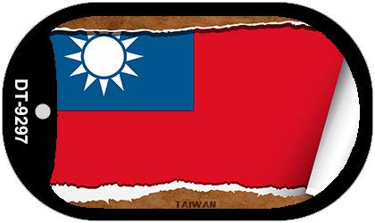 "Taiwan Country Flag Scroll Dog Tag Kit 2"" Metal Novelty"