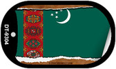 "Turkmenistan Country Flag Scroll Dog Tag Kit 2"" Metal Novelty"