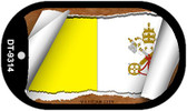 """Vatican City Country Flag Scroll Dog Tag Kit 2"""" Metal Novelty"""