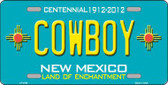 Cowboy New Mexico Teal Novelty Metal License Plate LP-2796