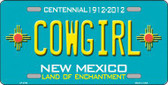 Cowgirl New Mexico Teal Novelty Metal License Plate LP-2797