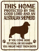 This Home Protected By An Australian Shepard Parking Sign Metal Novelty