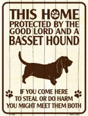This Home Protected By A Basset Hound Parking Sign Metal Novelty