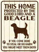 This Home Protected By A Beagle Parking Sign Metal Novelty