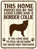 This Home Protected By A Border Collie Parking Sign Metal Novelty