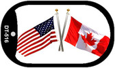 """American Canada Country Flag Dog Tag Kit 2"""" Metal Novelty"""