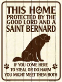 This Home Protected By A Saint Bernard Parking Sign Metal Novelty P-1686