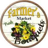 Farmers Market Bouquets Novelty Metal Circular Sign