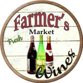 Farmers Market Wines Novelty Metal Circular Sign